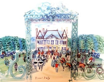 RAOUL DUFY - 'Le Haras du Pin' - large vintage lithographic print - c1960s (New York. Picasso interest)