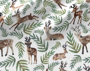 Christmas Fabric by the Yard Cotton, Reindeer Fabric, Deer Holiday Fabric by the Yard, Christmas Cotton Fabric by the Yard 5794278