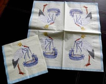 2 birth paper napkins, Stork