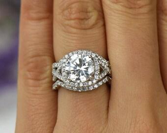 325 ctw 3 band twisted halo wedding set engagement ring infinity ring man - Three Band Wedding Ring