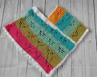 child poncho, rainbow poncho, dragonfly poncho, striped poncho, crochet poncho, knitted poncho, kids poncho, girls poncho, girls pullover
