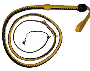 6 Foot 10 Plait Black and Yellow Real Leather Bullwhip with nylon popper Bullwhip INDIANA Jones Style BULLWHIP