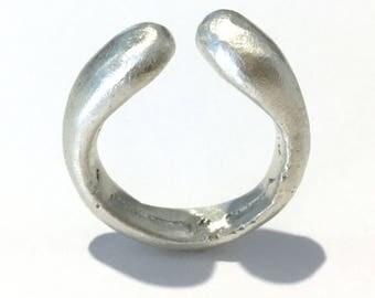 UMBRA Solid Argentium Silver Organic Brushed Matte Ring - Handmade in Australia