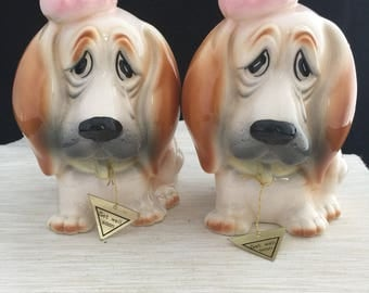 Pair of Mint Condition Vintage Relpo 6710 Ceramic Get Well Doggie Planters