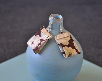 Earrings in Brown, beige and green liberty fabric