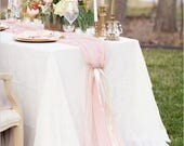 Romantic Chiffon Table Runner | Blush Pink Tablecloth Décor for Bridal Shower Bachelorette Party Baby Girl Shower Girl's Sweet 16 Birthday