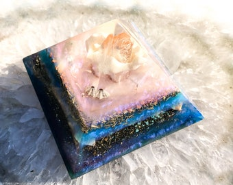 Violet Flame Orgone ~ Mermaid Inspiration Orgone Pyramid ~ Coral and Aquamarine Crystal Pyramid