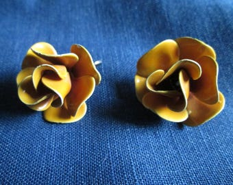Vintage Yellow Enamel Rose Clip On Earrings