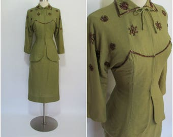 "AUGUSTA GRODEN 1940's Vintage Olive Green Wool Snowflake 2 Piece Suit 26"" Waist"