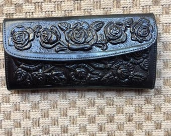 Black Leather Wallet, Roses,tooled leather,black rose,rose wallet