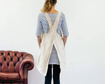 Natural beige cream linen Japanese apron smock dress with crossover back - perfect for easy wearing layering
