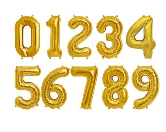 "Balloons 16 ""gold numbers 1,2,3 1 birthday party"