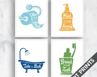 Bath Rules - Set of 4B - Art Print (Featured in Colors Maliblu, Clementine, Marine and Clover ) Bath and Washroom Prints