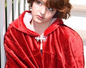 Red hooded cloak- Velvety and soft handmade cloak