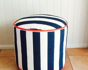 Outdoor / Indoor Oxford Blue & White Stripes Floor Cushion / Pouf / Ottoman Cover - Nautical - Hampton - Coastal - Beach House