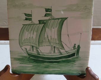 Dutch Tile/Green And White Glazes Sailboat with Figure