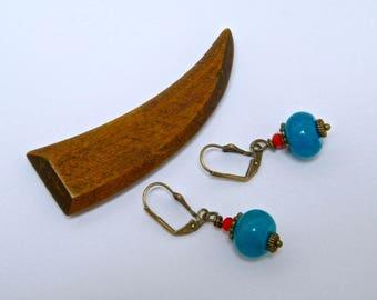 Earrings bronze brass, jade, orange glass beads, gift idea for woman