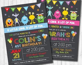 Monsters Invitation, Monsters Invite, monster birthday, Monster birthday, 1st birthday, Chalkboard,  Boys Girls Invitation, Printable