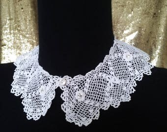 Needle lace Peter Pan collar and white rhinestones