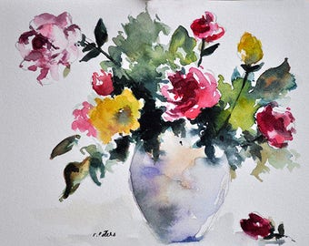 PRINT Of Watercolor Painting, Still Life Floral Painting, Colorful Wild Flowers In a Vase 6x8 Inch