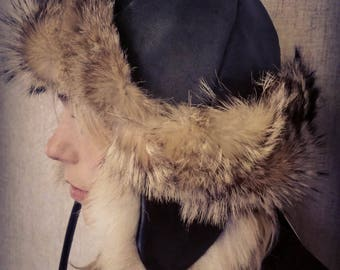 KHALYK Winter hat recycled coyote and recycled black leather / eagle hunter inspired Mongol
