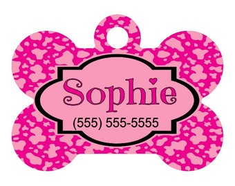 Personalized Pet ID Tag-Animal Print Pattern | Custom Pet ID Tag | Dog Collar Name Tag | Double Sided