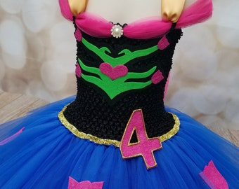 ADD A REMOVABLE NUMBER! Handcrafted Customizable Princess Tutu Dress, Princess Anna Dress, Anna Costume, Frozen Dress, Princess Dress