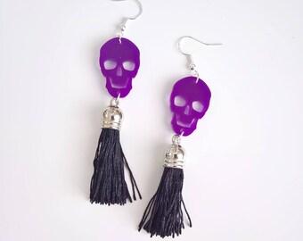 Gothic earrings, skull earrings, gothic jewellery, tassel earrings, acrylic earrings, gothic gift, purple earrings, alternative jewellery