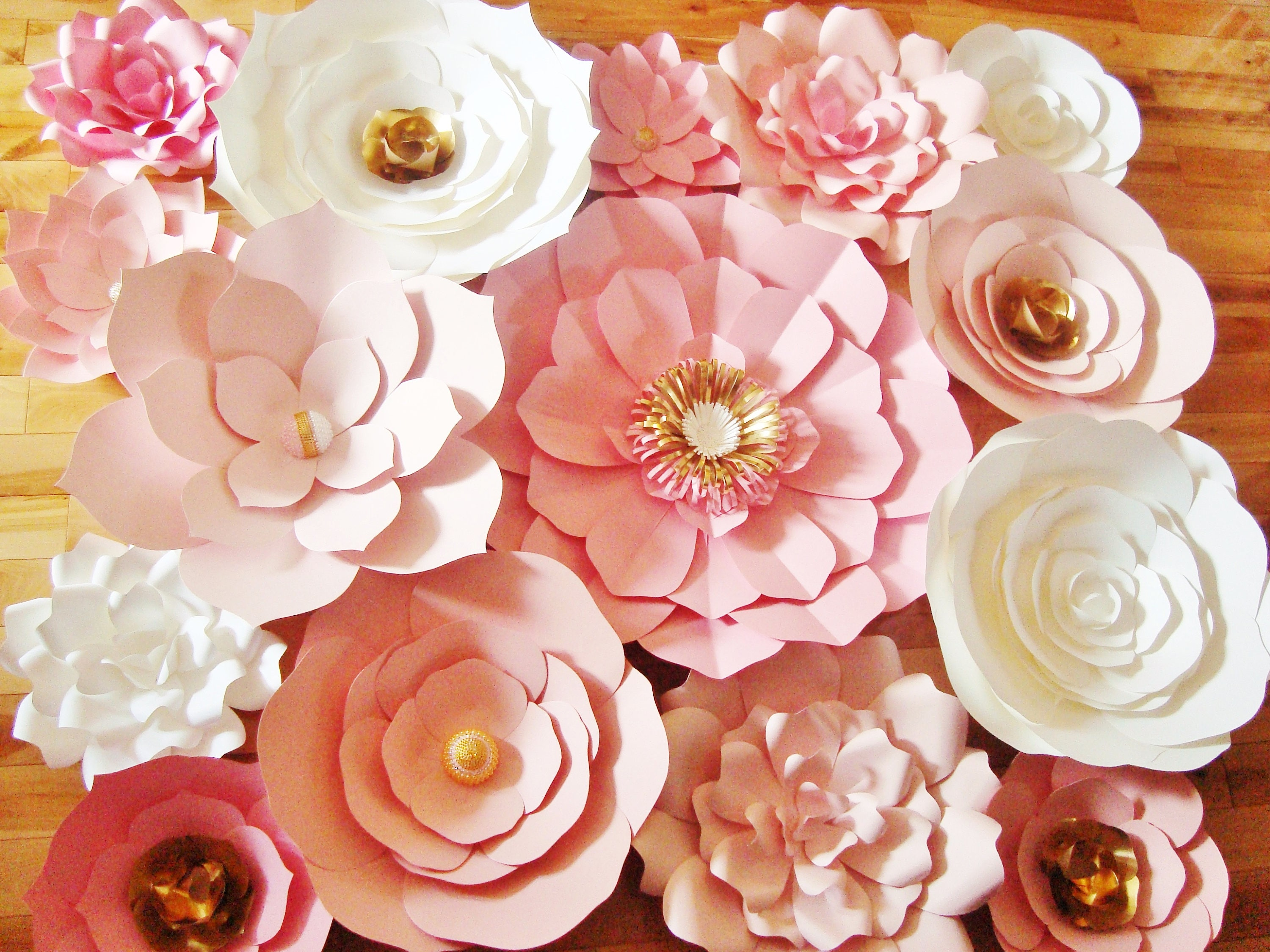Set of 15 Pink White Gold Large Paper Flowers Paper