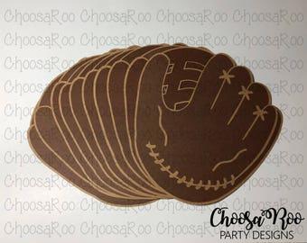 "5"" BASEBALL CATCHER'S MITT Cutouts - Set of 10 - Centerpiece/Topper/Party Favor/Birthday Decoraions/Classroom/Scrapbooking *Made to Order*"