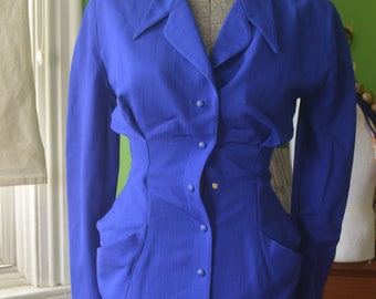 1980s 1990s Vintage Thierry Mugler Blue Suit Dress