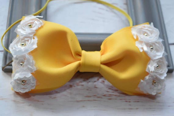 Elegant yellow and white bow - Baby / Toddler / Girls / Kids Elastic Hairclip / Hair Barrette / Hairband / Headband