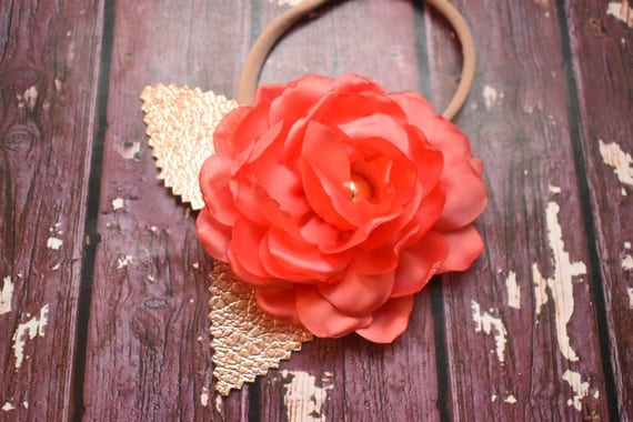 Coral single flower elastic headband with gold leaves - Baby / Toddler / Girls / Kids Hairband / Hair bow / crown /wedding / birthday
