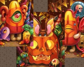 Gods & Monsters 3 print set by Angel Hawari, Halloween Art, Jack O Lantern, Pumpkins, Costumes, Haunted Candy