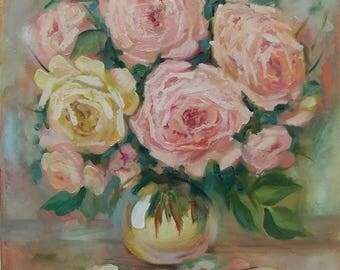 Picture Bouquet of Roses - Art Oil Still Life Painting