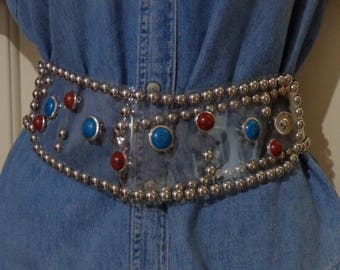 Ladies Clear Belt with Turquoise and Agate,Silver Belt,Western Belt
