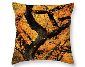 Gold Fall Throw Pillow or Pillow Cover, Autumn Outdoor Pillow, Nature Photo Seat Cushion, Orange Accent Pillow, Leaves and Trees Pillow
