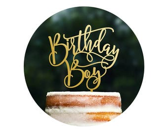 Fun Calligraphy Birthday Boy Cake Topper, Happy Birthday Cake Topper, Scripted Cake Topper, Birthday Party Decor, Happy Bday Topper (T404)