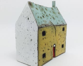 Ceramic House with Turquoise Roof