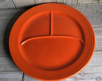 """Vintage Fiestaware 12"""" Divided Plate - Red / """"Radioactive Red"""""""