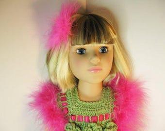 "Doll Clothes, Fits 18"" dolls Handmade crochet green pink dress boa shoes bunny"