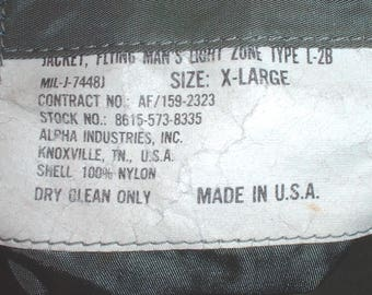 USAF US Air Force L-2B flyer's jacket size X-Large Alpha Industries circa 1970s