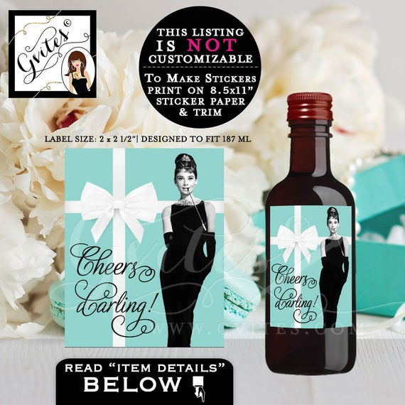 "Breakfast at Tiffany's Labels Audrey Hepburn Mini Wine Labels - printable labels, stickers, bridal shower, 2x2.5"" {12/Per Sheet} PRINTABLE"