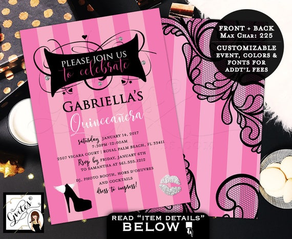 Victoria Secret Invitations Quinceanera Pink Party Invites, teen birthday, fashion designer, printable invitation, 5x7 double sided.