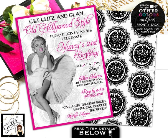 Old hollywood invitations, 21st glitz glam Marilyn Monroe invites, pink adult birthday invitation, 1950s birthday women, double sided 5x7