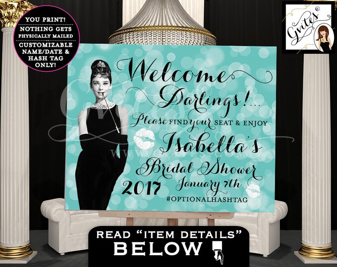 Bridal Shower - Audrey Hepburn - Welcome Darlings Sign, please find your seat and enjoy, breakfast at, blue themed table signs, decoration.