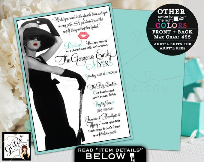 Bridal Shower Invitations, Breakfast at Audrey diamonds pearls, little black dress, Audrey quote and picture, double sided 5x7.