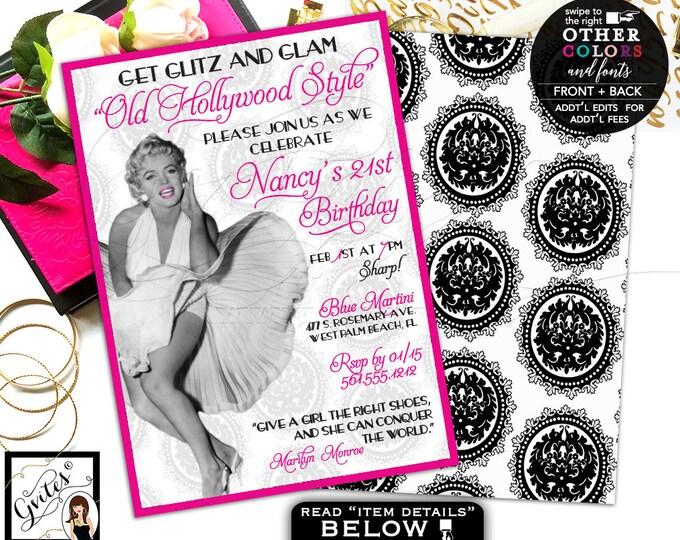 Old hollywood invitations, 21st glitz glam Marilyn Monroe invites, pink adult birthday invitation, 1950s birthday women, double sided 5x7