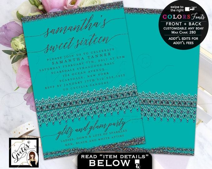 Sweet 16 Glitz and Glam Invitations, turquoise silver glitter, iridescent birthday mis quince, quinceanera, 5x7 double sided invites.