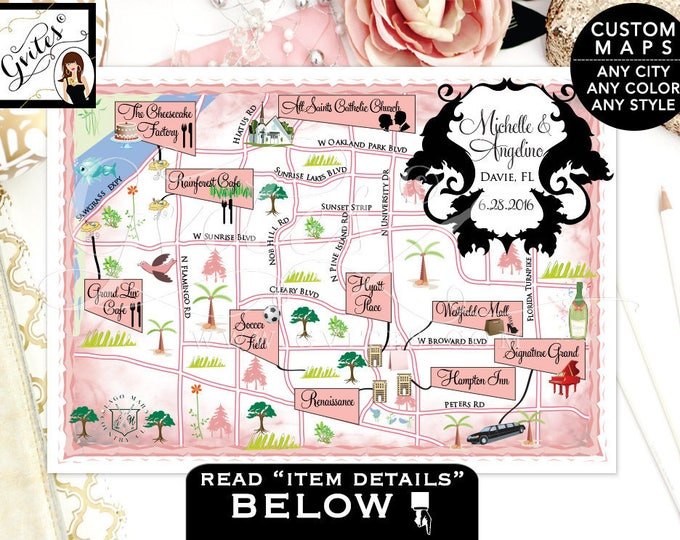 Map Florida save the date, city map save the date, wedding maps weekend, destination, New York, Florida, Palm Beach, ANY City/Location/Theme